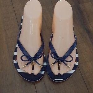 kate spade - Navy & White Flip Flops